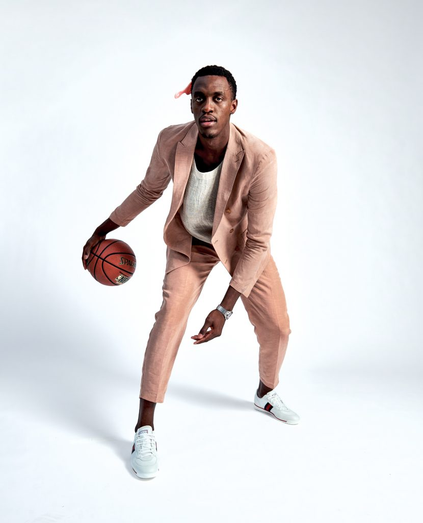 Pascal Siakam dribbles a basketball during the Photoshoot
