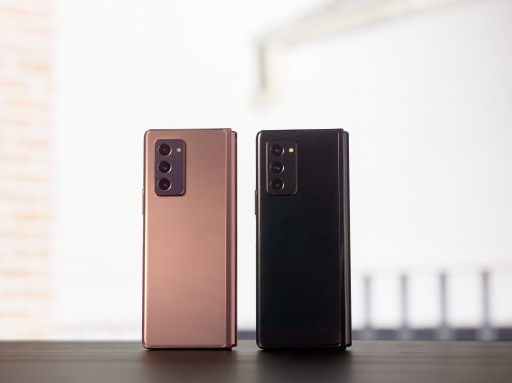 Samsung Galaxy Z Fold2 phone in pink and black
