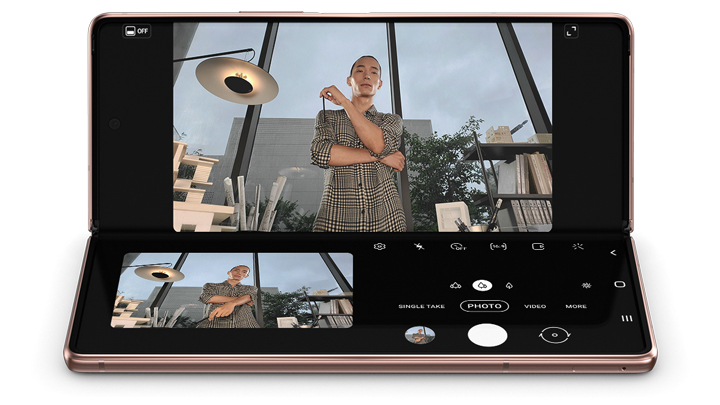 Samsung Galaxy Z Fold2 Open with musician on screen
