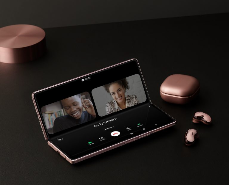 Samsung ZFold 2 open with ear buds
