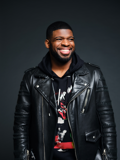 P.K. Subban wearing black hoodie and leather jacket