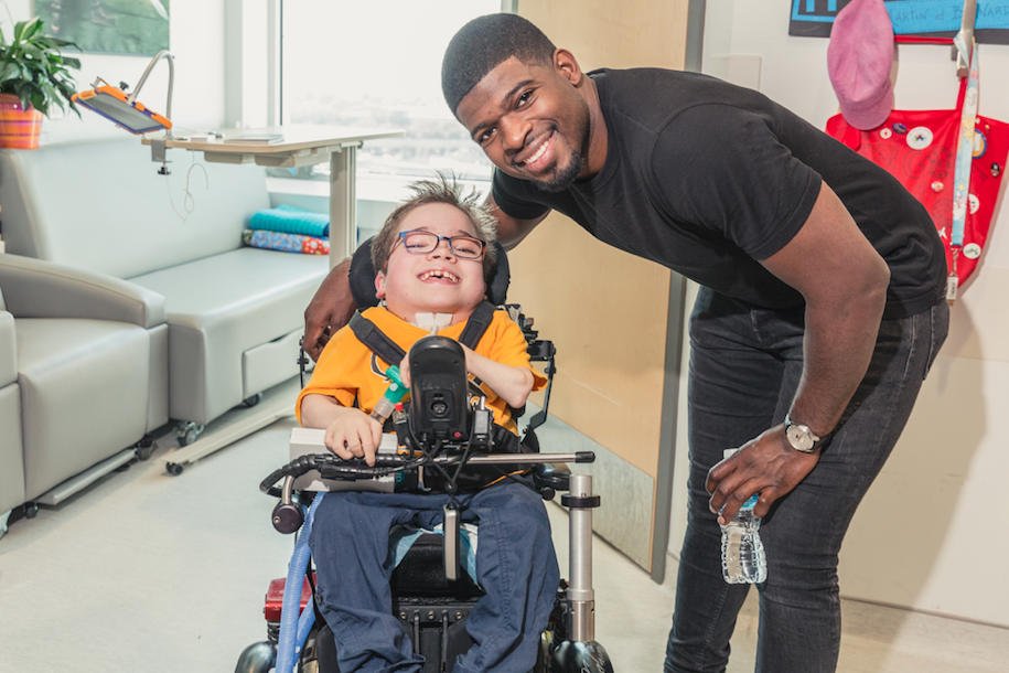 P.K. Subban with child in hospital