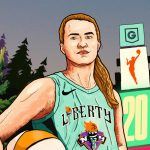 A graphic of Sabrina Ionescu that showcases her fir trees to represent her Oregon routes and Times Square to represent her team NY Liberty. It is created as a digital magazine cover for GLORY.